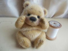 Werther By Barney Bears - I am very pleased to welcome to you all 'Werther' An absolutely gorgeous golden blonde bear cub with beautiful glistening highlights! a real eye catcher, incredibly silky and soft, but with a fluffy underpile, just scrumptious!This lovely little bear is just 4 inches, approx 3 inch...