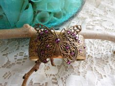 Brass Butterfly Handmade Jewelry Filigree Floral Bracelet, Amethyst Embossed Floral Cuff, Adjustable Cuff Bangle, Unique Jewellery Gift by BackAlleyDesignsINK on Etsy