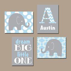 BOY Elephant Wall Art Baby Blue Boy Elephant Nursery Baby Boy Nursery Wall Art Boy Bedroom Wall Art Boy Nursery Decor Dream Big Set of 4