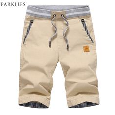 Casual Shorts Men Summer Brand New Cotton Mens Shorts Solid Color Slim Fit Elastic Waist Bermuda Masculina Knee length Shorts #Affiliate