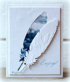 handmade greeting card from a CAS-ual Fridays challenge . clever use of die cut feather . negative space with blue fill . die cut and embossed feather off-set above its space . Cute Cards, Diy Cards, My Planner Colibri, Tarjetas Diy, Feather Cards, Karten Diy, Embossed Cards, Masculine Cards, Sympathy Cards