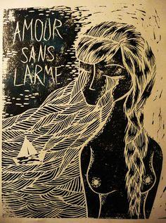 Amour sans larmes Gravure Illustration, Art Things, Printmaking, Screen Printing, Stamps, Cartoons, Sketch, Carving, Illustrations