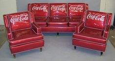 Vintage Coca Cola Couch & Chairs -