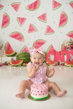 Cake Smash   ONE in a Melon   FIRST Birthday   Watermelon   Cake   Julie Wagner Photography   Pink & Green   Lights