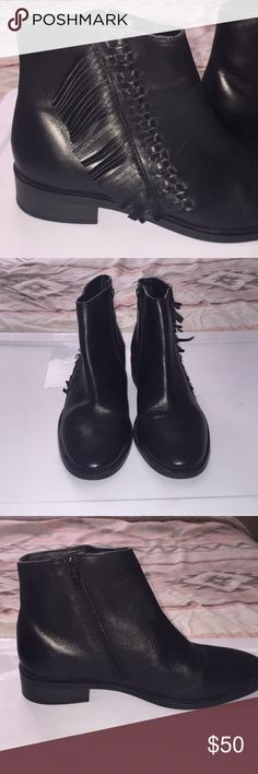 Topshop Kit flat fringe leather booties Gorgeous topshop black booties. Have fringe design. Worn a few times but in really good condition. They are a little tight on me. Size says 39 uk size 6 us was a size 8. Topshop Shoes Ankle Boots & Booties