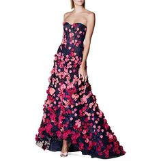 Marchesa Notte Heart & Floral Motif Gown ($1,095) ❤ liked on Polyvore featuring dresses, gowns, navy, navy blue evening dress, white floral dress, navy evening gown, strapless gown and white ball gowns