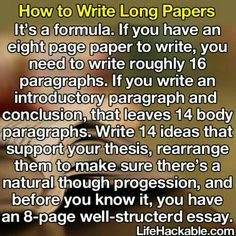 How to write long papers