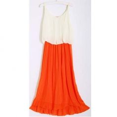 $8.47 Women's Chiffon Dress With Color Block Elastic Waist and Pleated Design