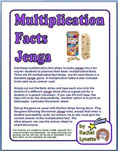 Use these multiplication fact strips to make Jenga into a fun way for students to practice their basic multiplication facts. There are 54 multiplication fact strips one for each block in a standard Jenga game. Teaching Multiplication, Teaching Math, Teaching Ideas, Teaching Materials, Math Addition, Addition Games, Third Grade Math, Grade 3, Second Grade
