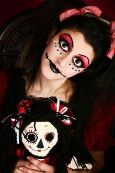 Grim Baby Doll inspired fantasy make-up accented with clear gems.