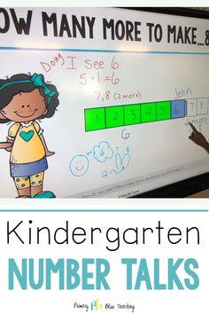 Kindergarten Number Talks both Digital and Printable Number Talks Kindergarten, Kindergarten Lesson Plans, Math Lesson Plans, Teaching Kindergarten, Math Lessons, Teaching Ideas, Math Fact Practice, Math Talk, Daily 5 Math