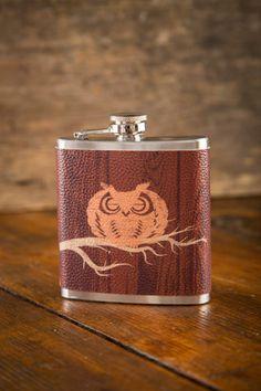 New! Owl Hip Flask. Made in #SouthCarolina.  BourbonandBoots.com