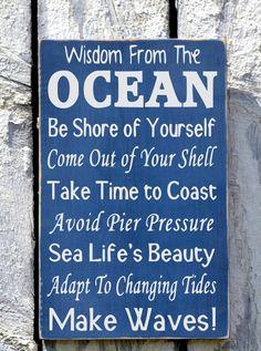 Advice Wisdom From The Ocean Sign, Beach House Art - The Sign Shoppe - 2