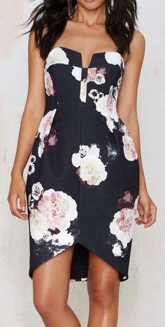 Keepsake Divide Strapless Dress - Floral