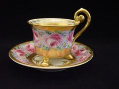 Dresden A Lamm Demitasse Footed Cup Saucer Hand Painted Gold Gilt Pink Roses by red_birdie Painted Cups, Hand Painted, Painted Porcelain, Tea Cup Saucer, Tea Cups, Teapots Unique, Dresden Porcelain, Vintage Tea, Tea Set