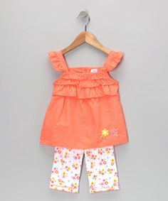 Take a look at this Orange Flower Eyelet Tunic & Leggings - Infant & Toddler by Coney Island Kids on #zulily today!