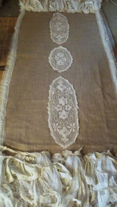 Large table runner hand made burlap lace tattered shabby French chic one of a kind piece anita spero Sewing Ideas, Sewing Projects, Projects To Try, Burlap Runners, Table Runners, French Farmhouse Decor, Burlap Lace, Large Table, French Chic