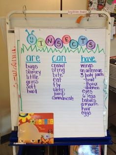 One way to organize your vocabulary for kids.  Add some sample sentence frames to increase the level of support.  Insects are _____.  Insects can _____.  Insects have ______ .