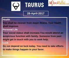 Read Your Free Taurus Daily Horoscope (28-April-2017). Read detailed horoscope at astrovidhi.com. Capricorn Daily Horoscope, Daily Zodiac, Free Daily Horoscopes, Zodiac Signs Aquarius, Scorpio Zodiac, Specials Today, Health Programs, Trip Planning