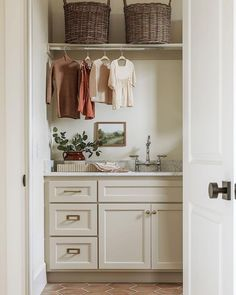 Ivory Cabinets, Laundry Room Cabinets, Laundry Rooms, Clothes Rail, Cozy House, Decoration, Warm And Cozy, Sweet Home, House Design