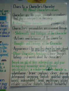 Characterization- all the portions I teach clearly stated. Reading Resources, Reading Strategies, Reading Skills, Teaching Reading, Teaching Ideas, Learning, 6th Grade Ela, 5th Grade Reading, Grade 3