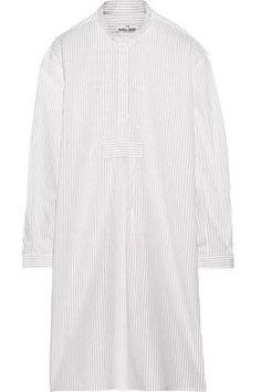 Long striped cotton-poplin nightdress #poplindress #women #covetme #thesleepshirt
