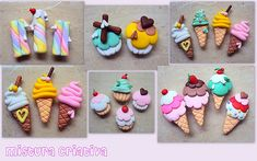 Helados planos... Cute Polymer Clay, Cute Clay, Fimo Clay, Polymer Clay Projects, Polymer Clay Charms, Polymer Clay Jewelry, Clay Crafts, Clay Magnets, Oven Bake Clay