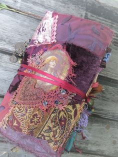 Boho Fabric Journal in purple and plum shades. A great gypsy style junk journal, mixing velour, jacquards, printed fabrics and dyed doilies. Fabric Journals, Journal Paper, Scrapbook Journal, Art Journal Pages, Junk Journal, Art Journals, Art Journal Covers, Travel Journals, Handmade Journals