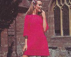 The Vintage Workbox by TheVintageWorkbox on Etsy Crochet Men, Crochet Tunic, Tunisian Crochet, Crochet Tops, Vintage Crochet Patterns, Knitting Patterns, Yarn Sizes, Retro Outfits, Little Girl Dresses