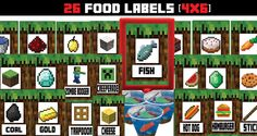 Looked all over for printable food labels for a Minecraft party? Finally found this site. She will even add additional labels if you don't see it on the list. Minecraft Food Labels, Minecraft Party Supplies, Minecraft Party Games, Minecraft Birthday Party, Kids Party Games, Boy Birthday Parties, Minecraft Printable, 10 Birthday, Minecraft Cake