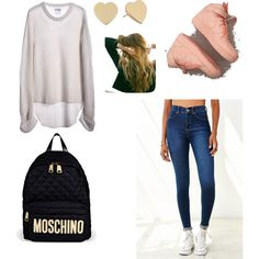 SCHOOL by rayvan-janay on Polyvore featuring polyvore fashion style One Teaspoon Dr. Denim Moschino Kate Spade Lulu DK NIKE