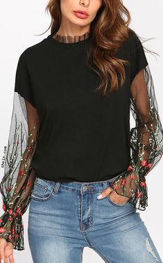 Botanical Embroidered Mesh Sleeve Sweatshirt