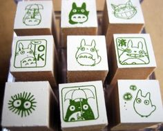 Strapya World : Studio Ghibli My Neighbor Totoro Mini Rubber Stamp Set Stamps)【Stationery】 Totoro, Theme Mickey, Studio Ghibli, Eraser Stamp, Japanese Stationery, Stamp Carving, Handmade Stamps, Rainbow Painting, Art And Craft Design