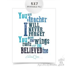 Blue Teacher Appreciation Printable /  Thank You Teacher Typography / End of Year Teacher Gift Ideas // 5x7 JPEG