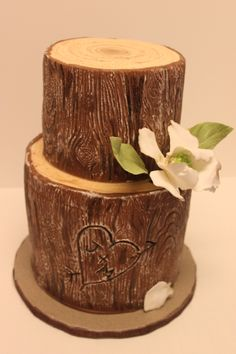 J & M - 1st and only tree trunk cake I've ever done, and I love how it turned out!
