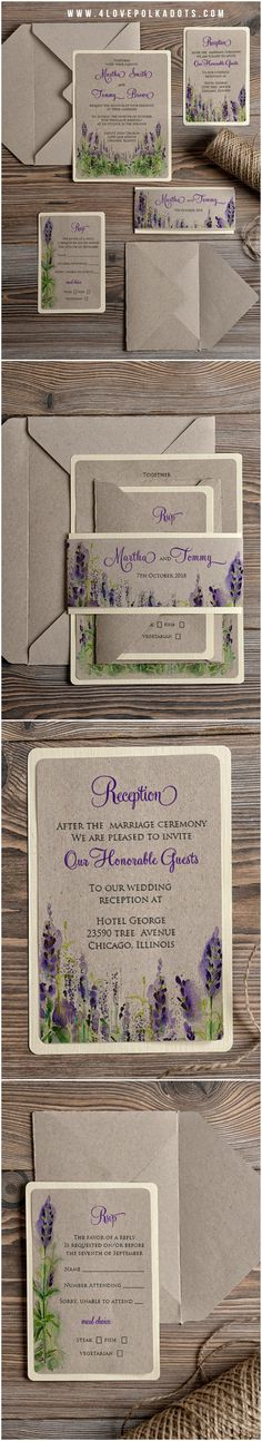 Lavender Eco Kraft Paper Wedding Invitations - simple with floral printing #eco #rustic #lavender #floral #flowers #watercolor #weddingideas