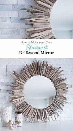 DIY Farmhouse Style Decor Ideas - Starburst Driftwood Mirror - Rustic Ideas for Furniture, Paint Colors, Farm House Decoration for Living Room, Kitchen and Bedroom http://diyjoy.com/diy-farmhouse-decor-ideas