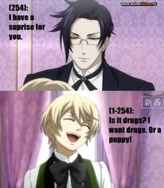 Black Butler texts. Alois wants drugs... Wouldnt be shocked if he was on them lol hes frikin phsyco! Im sorry