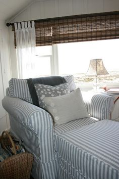 newport beach: a 1912 beach cottage ignoring the ugly chair in the foreground. i love the simple window treatment. bamboo roman shades and sheer cotton curtains Beach Cottage Decor, Coastal Cottage, Coastal Homes, Coastal Living, Coastal Decor, Cottages By The Sea, Beach Cottages, Cottage Living, Cottage Style