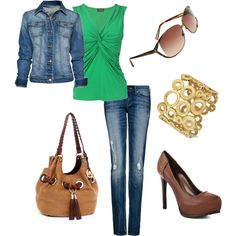 Green & Denim, created by lovinthatstyle