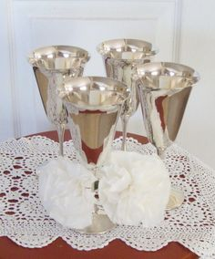 Silver Wine Glasses Silver Plate Goblets Stemmed by RamblinRanch