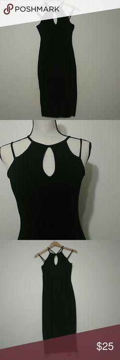 """A+ Ellen Peak A Boo Open Back Bodycon Dress A+ Ellen peak a boo open front and open Cris Cris and low cut back dress size medium. Chest 15"""", waist 12.5"""", length 36"""" A+ Ellen Dresses"""