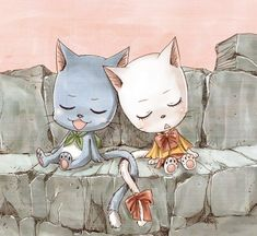 Happy and Charle <3 I love how their tails are intertwining :3 ~Fairy Tail