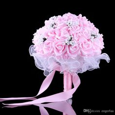 Bridal Bouquets Wedding Accessories Artificial Silk Roses Flowers Purple/Pink For Wedding Decoration Bridesmaid Hand Holding Flowers #dhgatePin
