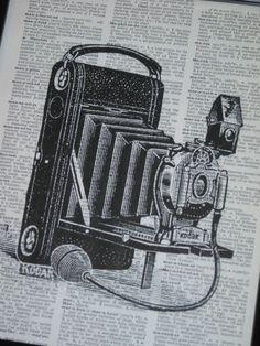 Antique Camera Dictionary Art Print Book Page Vintage Book