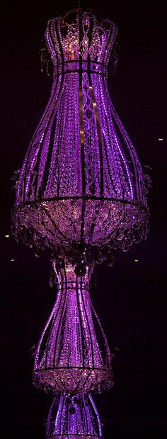 LED purple chandelier..