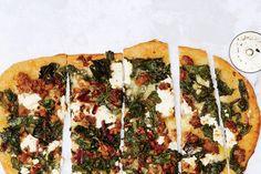 hot (will use vegan) sausage-and-crispy-chard-pizza / Photo by Nicole Franzen