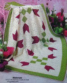 Crochet PATTERN ONLY ~ Tumbling Tulip Afghan ~ Springtime Bouquet Blanket