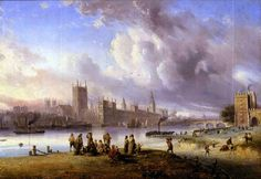 Carlo Bossoli - View of Westminster Palace from Lambeth   #19th #Carlo #Bossoli #Classic #Painting