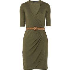 Ralph Lauren Black Label Belted cashmere and silk-blend dress ($520) ❤ liked on Polyvore